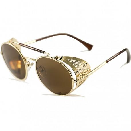 Gothic Steampunk Model Gold Çerçeveli Kahverengi Camlı Metal Kenar Katlanır Model Unisex Güneş Gözlüğü