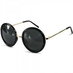 Steampunk Yuvarlak Siyah Çerçeveli Kadın Güneş Gözlüğü