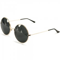 Image Steampunk Round Design Vintage Retro Gold Framed Black Glass Sunglasses