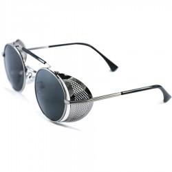 FashionMoon Gothic Steampunk Grey Framed Black Glazed Folding Metal Edge Model Unisex Sunglasses