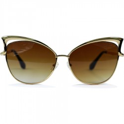 Cat Model Yellow Color Metal Framed Brown Glass Sunglasses