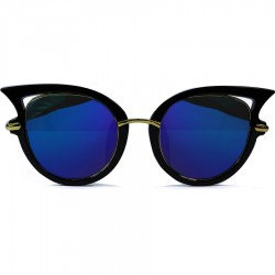 Steampunk Cat Retro Cat Model Blue Mirrored Glass Sunglasses