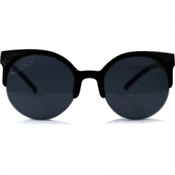 Round Half Cat Model Black Framed Sunglasses