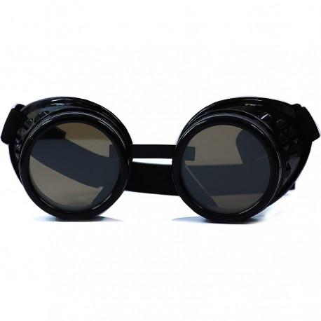 Gothic Steampunk Motorcu Model Siyah Camlı Siyah Unisex Güneş Gözlüğü
