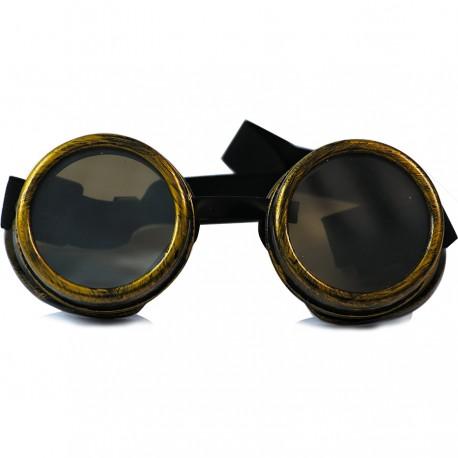 Gothic Steampunk Motorcu Model Siyah Camlı Antik Sarı Unisex Güneş Gözlüğü