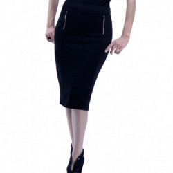 Jimmy Key Black Pencil Skirt With Zip Detail