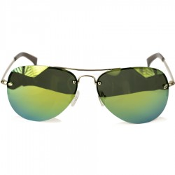 Ellesse Sport Drop Shaped Yellow Metal Half-Frame Green Mirror Suglasses