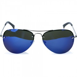 Ellesse Sport Drop Pattern White Metal Half Frame Blue Mirror Sunglasses