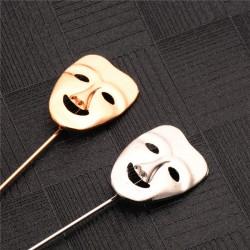 FashionMoon Mutluluk Modeli Maskı Yaka Erkek Broşu