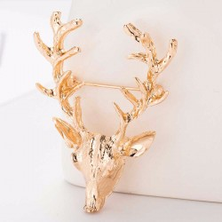 FashionMoon Golden Deer Head Model Necklace Brooch