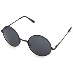Image Steampunk Round Design Vintage Retro Black Framed Black Glass Sunglasses