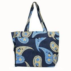 Mavi Şal Desenli Kot Plaj Çantası