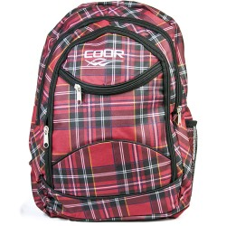 Coor Red Color Red Fabric Backpack