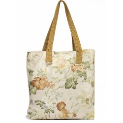 Design Cream Floral Pattern On Fabric Bag
