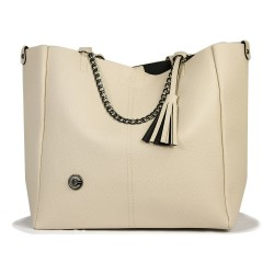Chain Cream Color Shoulder Bag