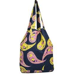 Tasarım Pembe ve Sarı Şal Desenli Kot Çanta 3