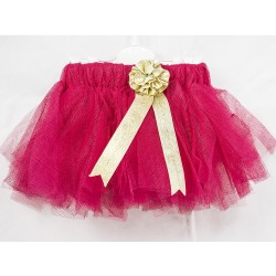Baby Tül Skirt Candy Pink Color Simli Flower