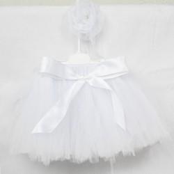 Bebek Tütü Takımı Beyaz Etekli Saç Bandı