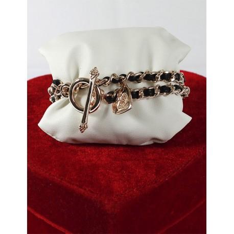 Leather Chain Black Bracelet