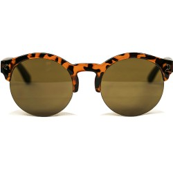 Fashion Moon Wooden Round Leopard Patterned Half-Frame Sunglasses