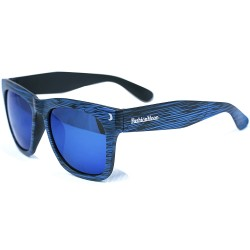 Fashion Moon Wooden View Model Blue Frame Blue Mirrored Sunglasses