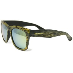 Fashion Moon Wooden View Model Yellow Frame Yellow Mirrored Sunglasses