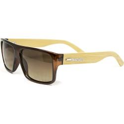 Fashion Moon Bamboo Handle Brown Rectangular Frame Sunglasses