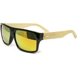 Fashion Moon Bamboo Handle Black Rectangular Frame Yellow Mirrored Sunglasses