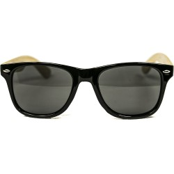 Fashion Moon Bamboo Handle Black Top Gun Frame Sunglasses