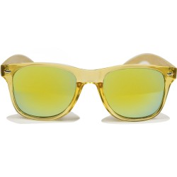 Fashio Moon Bamboo Handle Yellow Ball Gun Frame Sunglasses