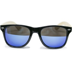 Fashion Moon Bamboo Handle Black Top Gun Frame Blue Mirrored Sunglasses