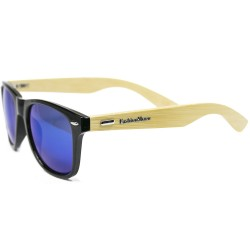 Fashion Moon Bamboo Handle Black Top Gun Frame Blue Mirrored Sunglasses