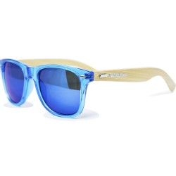 Fashion Moon Bamboo Handle Blue Top Gun Frame Blue Mirrored Sunglasses