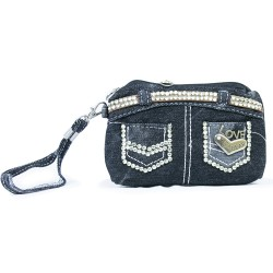 Grated Denim Small Handbag