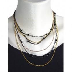 Three Color Black Karistal Stone Necklace