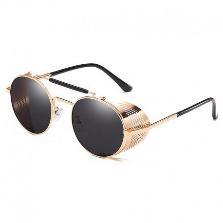 FashionMoon Gothic Steampunk Gold Çerçeveli Siyah Camlı Metal Kenar Katlanır Model Unisex Güneş Gözlüğü
