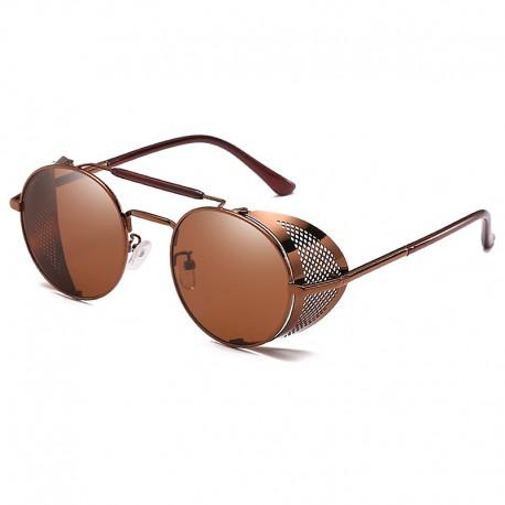 FashionMoon Gothic Steampunk Kahverengi Çerçeveli Kahverengi Camlı Metal Kenar Katlanır Model Unisex Güneş Gözlüğü