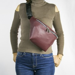 Women's Burgundy Single Zippered Large Waist Bag