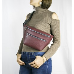 Women's Burgundy Double Zippered Belt Large Waist Bag