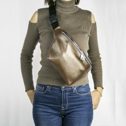 Women's Bright Brown Single Zippered Large Waist Bag