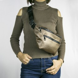 Women's Bright Brown Double Zippered Belt Waist Bag