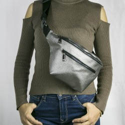 Women's Silver Double Zippered Belt Waist Bag