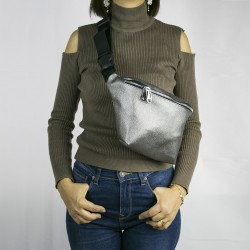 Women's Silver Single Zippered Large Waist Bag