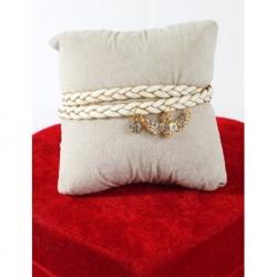 Sawaroski Stone Bracelet With Leather Skull