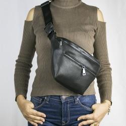 Büyük Bel Çantası Siyah Çift Fermuarlı Kemerli Model