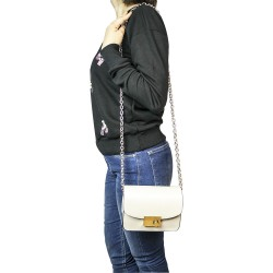 FashionMoon Cream Chain Small Square Shoulder Bag