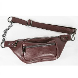 Waist Bag Chain Model Burgundy Color