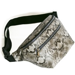 Large Waist Bag Brown Snake Patterned Model