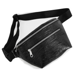 Large Waist Bag Black Color Glossy Patterned Model