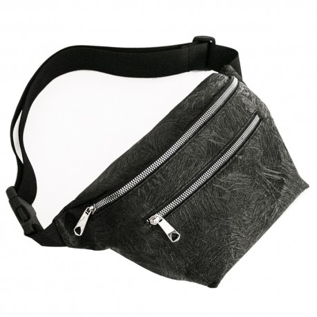 Large Waist Bag Black Color Matte Textured Pattern